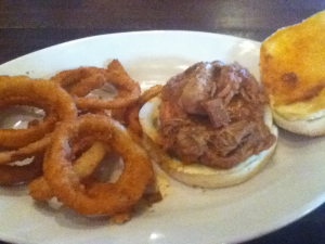 Philly's in Greenville, Kentucky Pork BBQ and Onion Rings