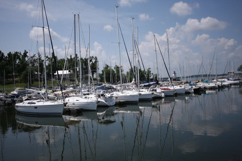 Boats at Lighthouse Landing Marina in Grand Rivers