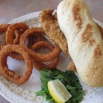 Catfish Sandwich and Onion Rings Grayson's Landing
