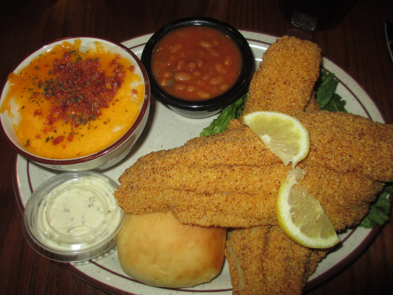 The Feed Mill (Morganfield): Fried Catfish, Baked Beans, Loaded Mashed Potatoes, and a Yeast Roll