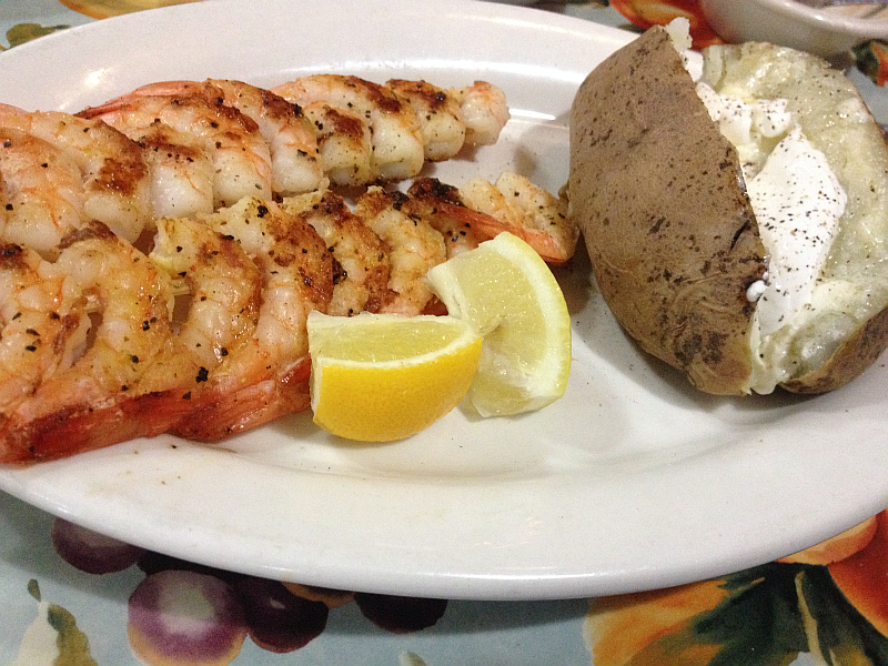 The Pond Grilled Shrimp and Baked Potato