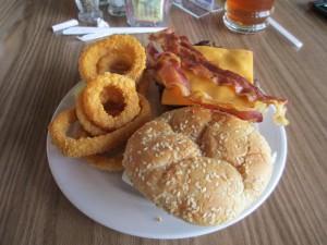 Hamburger and Onion Rings at Lake Barkley