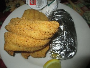 Fried Catfish and a Baked Potato at Willow Pond in Aurora, Kentucky
