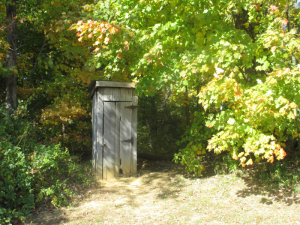 Outhouse at The Old Pleasant Grove School at Panther Creek Park