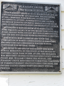 Pleasant Grove School Plaque