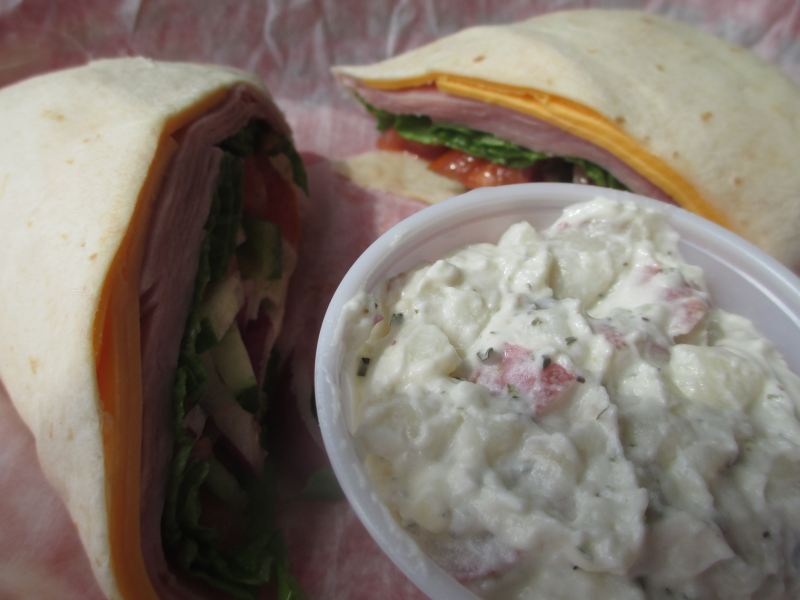Docker's Bayside Grille Wrap and Potato Salad