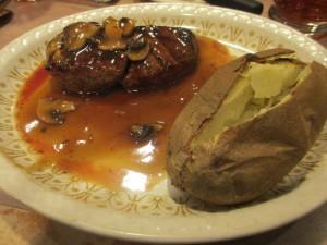 Steak and Baked Potato at Grayson's Landing