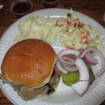 Jack's Bar-B-Que Pulled Pork Sandwich, Mashed Potatoes, and Coleslaw