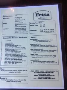 Fetta Pizza & Spirits Menu