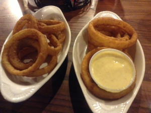 """Onion Rings and """"In House"""" Honey Mustard Sauce at the Feed Mill (Morganfield, Ky)"""