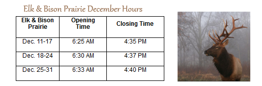 Elk & Bison Prairie December Hours