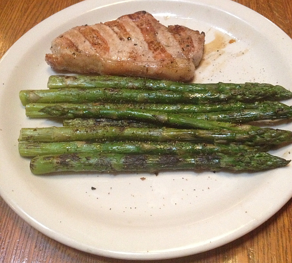 Raffert'ys  Grilled Pork Chop and Asparagus