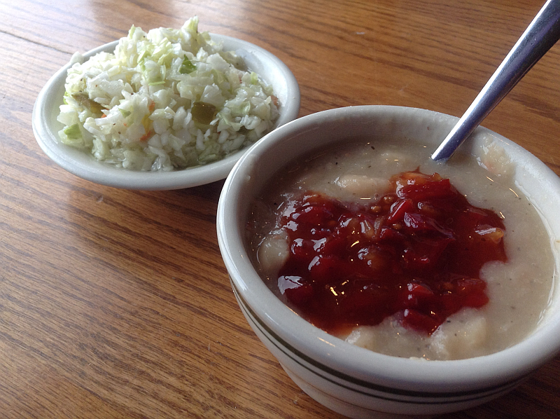 Willow Pond in Calvert City: Vinegar Coleslaw and White Beans with Relish