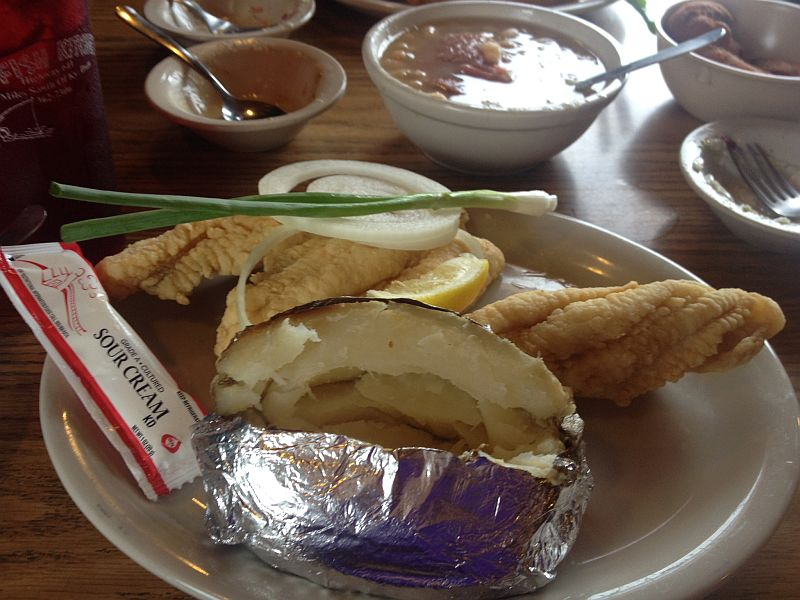 Catfish Kitchen's Gluten Free Fried Catfish and Baked Potato