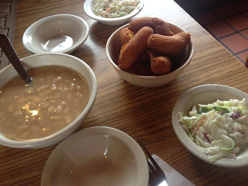 Catfish Kitchen Hush Puppies, Coleslaw, and Beans