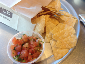 Chipotle Tortilla Chips and Hot and Mild Salsa