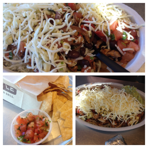 Chipotle Grilled Chicken Burrito Bowl and Tortilla Chips
