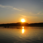 Canoeing at Sunset on Honker Lake