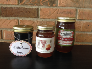 Hitching Post and Old Country Store Elderberry Jam, Southern Sweet Tea Jelly, and Pure Honey