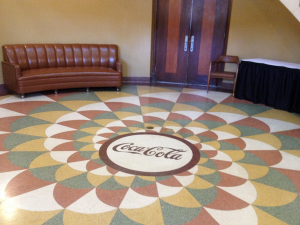 Coca Cola Logo on Floor inside the old Coca Cola Plant in Paducah Ky