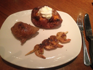 Steak with Grilled Shrimp and Baked Sweet Potato