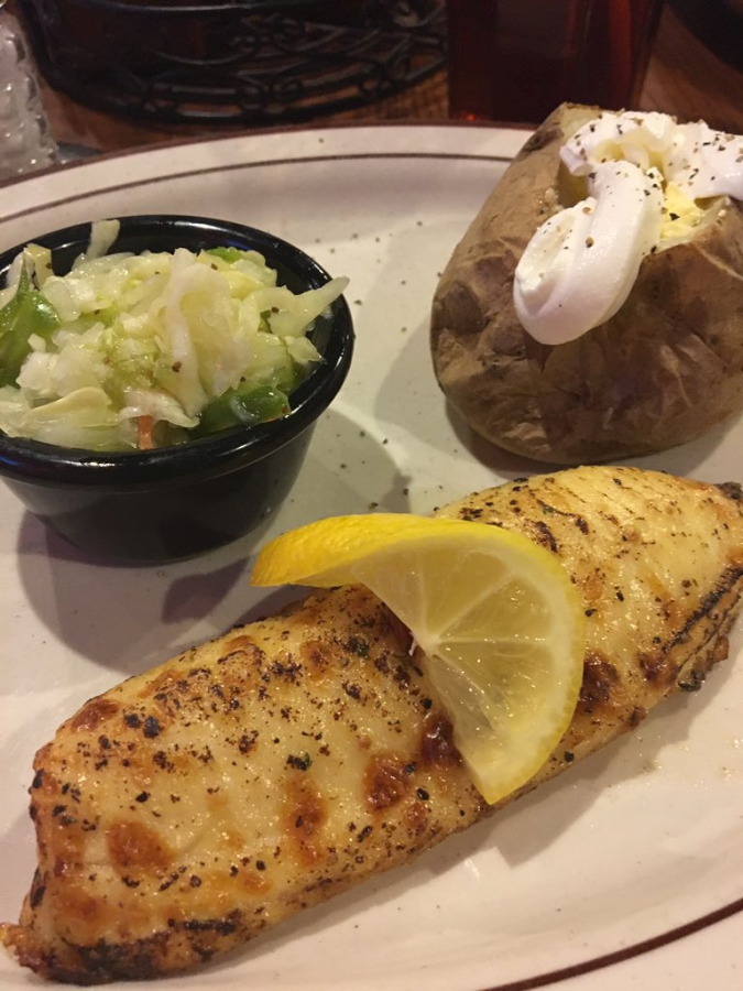 The Feed Mill Citrus Peppercorn Tilapia, Coleslaw, and Baked Potato