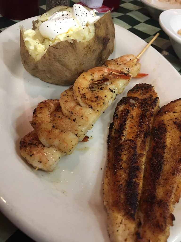 Grilled Shrimp and Blackened Catfish at The Pond